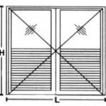 Porta de Giro- 2 folhas 1/2 para veneziana  1/2 para vidro